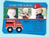 Fire Truck 1st Birthday Invitations Firetruck Birthday Invitation Firefighter Birthday by
