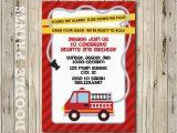 Fire Truck 1st Birthday Invitations Printable Fire Truck Birthday Party Invitation by Doodleprints