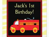 Fire Truck 1st Birthday Invitations Yellow Tiger Red Fire Truck Boy 1st Birthday Party 5 25