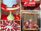 Fire Truck Birthday Decorations Kara 39 S Party Ideas Vintage Fire Truck themed Birthday