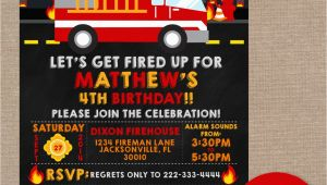 Fireman Birthday Invites Firefighter Birthday Invitation Firefighter Birthday Party