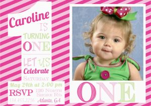 First Birthday Ecard Invitation Free 1st Invitations Girl Template Baby 39 S