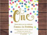 First Birthday Invitation Email Rainbow Gold 1st Birthday Invitation Girl Any Age Rainbow