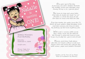 First Birthday Invitation Wording Poem Happy Natalie Invitations
