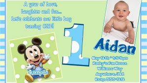 First Birthday Invitations Boy Wording Free Printable Mickey Mouse 1st Birthday Invitations