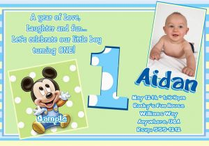 First Birthday Invitations Boy Wording Free Printable Mickey Mouse 1st