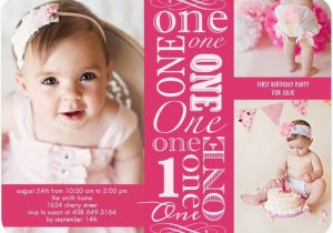 First Birthday Invitations Girl Girl First Birthday Photo Invites Pink Tiny Prints