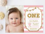 First Birthday Invitations Girl Pink and Gold Invitation 1st Birthday Invitation Girl