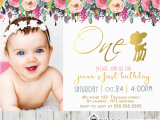First Birthday Invitations Girl Willow Deer First Birthday Photo Invitation Floral Gold