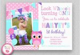 First Birthday Invitations Owl theme Girls Birthday Invitation Girls 1st Birthday Invitation