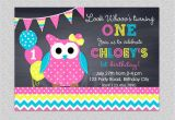 First Birthday Invitations Owl theme Owl Birthday Invitation Chevron Owl Birthday Party Invitation