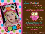 First Birthday Invitations Owl theme Owl Birthday Invitations Free