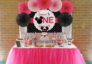 First Birthday Minnie Mouse Decorations Minnie Mouse First Birthday Party Little Wish Parties