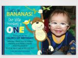 First Birthday Monkey Invitations Monkey First Birthday Invitation Customized with Your Photo