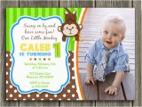 First Birthday Monkey Invitations Printable Boy Monkey Birthday Photo Invitation Boy First