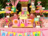 First Birthday Owl Decorations Owl themed First Birthday Party Teal Pink and Yellow
