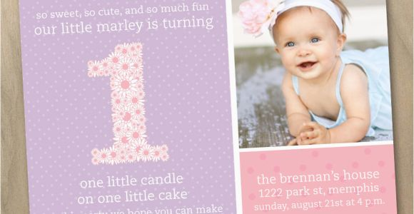 First Birthday Photo Invitations Girl Baby Girl First 1st Birthday Photo Invitation Pink and