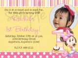 First Birthday Quotes for Invitations Minnie Mouse 1st Birthday Invitation