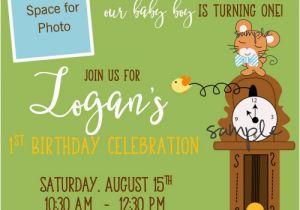 First Birthday Rhymes for Invitations Nursery Rhyme Hickory Dickory Dock First Birthday