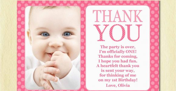 First Birthday Thank You Card Messages First Birthday Matching Thank You Card 4×6 the Big One Diy