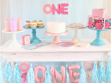 First Year Birthday Decorations Donut themed First Birthday Party Idea