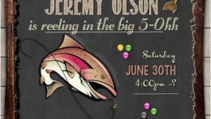 Fish themed Birthday Party Invitations Fishing Birthday Invitation Invite 30th 40th 50th 60th