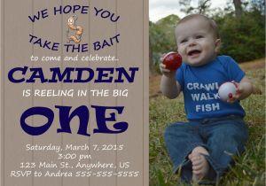 Fishing First Birthday Invitations Gone Fishing First Birthday Invitation Reeling In the Big