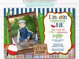 Fishing First Birthday Invitations Printable Fishing Birthday Invitation 1st Birthday