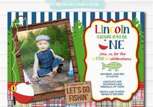 Fishing First Birthday Invitations Printable Fishing Birthday Invitation 1st Birthday