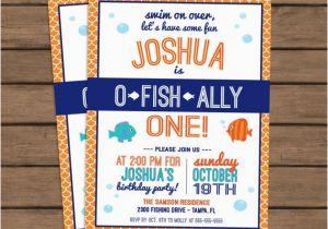 Fishing First Birthday Invitations Quot O Fish Ally Quot One Birthday Party Invitation Fish theme
