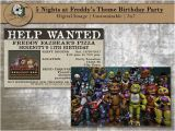 Five Nights at Freddy S Birthday Invitations Custom Five Nights at Freddy 39 S Birthday Party Invitations