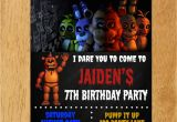 Five Nights at Freddy S Birthday Invitations Five Nights at Freddy 39 S Birthday Party Invitation by