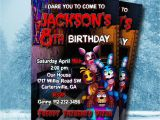 Five Nights at Freddy S Birthday Invitations Five Nights at Freddy 39 S Invitation 5 Nights at by