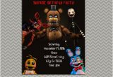 Five Nights at Freddy S Birthday Invitations Five Nights at Freddy 39 S Party Personalized Party