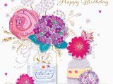 Flower Cards for Birthdays Vase Flowers Happy Birthday Greeting Card Cards