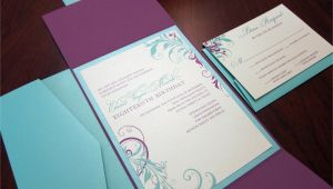 Folded Birthday Invitations Purple Tiffany Blue Birthday Invitation Gate Fold