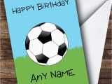 Football Birthday Cards to Print Football Fan Ball On Grass Personalised Birthday Card