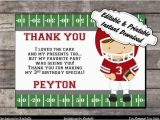 Football Birthday Cards to Print Football Thank You Card Birthday Party Red and Gray