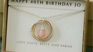 Fortieth Birthday Gifts for Her 40th Birthday Gift for Her October Birthstone Necklace Pink