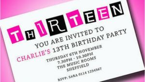Free 13th Birthday Invitations Personalised Boys Girls Teenager 13th Birthday Party