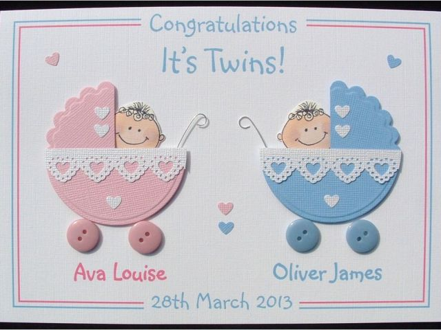 Free Birthday Cards For Twins Personalised Handmade 3d New Baby Card