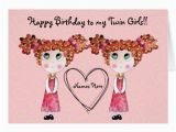 Free Birthday Cards for Twins Twin Girls Happy Birthday Customisable Card Zazzle