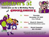 Free Birthday E-invites Chuck E Cheese Invitations Template Best Template Collection