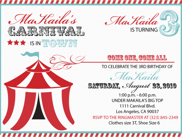Download By SizeHandphone Tablet Desktop Original Size Back To Free Carnival Birthday Invitations