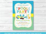 Free Editable Birthday Invitations Boys Pool Party Printable Birthday Invitation Editable Pdf