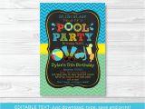 Free Editable Birthday Invitations Boys Pool Party Printable Chalkboard Birthday Invitation