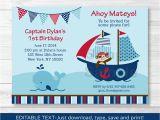 Free Editable Birthday Invitations Pirate Monkey Nautical Whale Printable Birthday Invitation