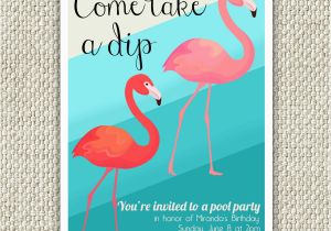 Free Flamingo Birthday Invitations Flamingo Birthday Party Invitation Retro Pool Party