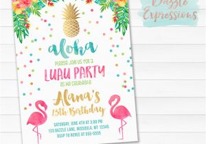 Free Flamingo Birthday Invitations Printable Gold Pineapple Flamingo Birthday Invitation