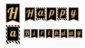 Free Happy Birthday Banner Printable Black and White Happy Birthday Party Banners Flags with Stripes Pattern